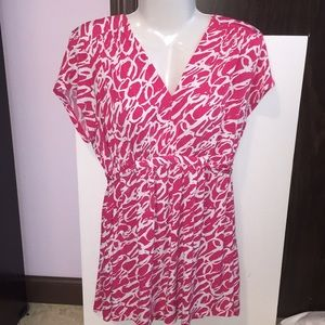Motherhood pink and white top. Size Large